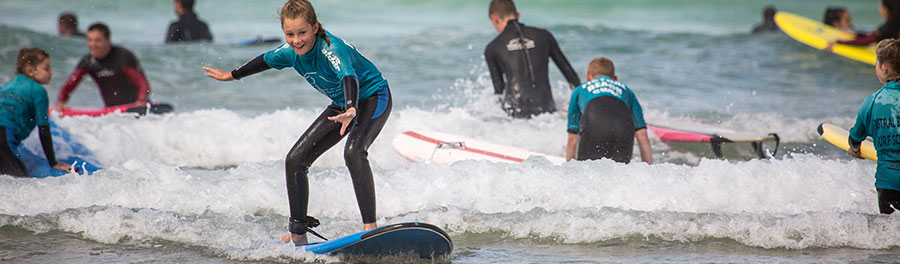 School group surf lessons