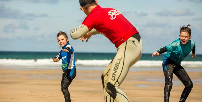 Beginner level surf lessons